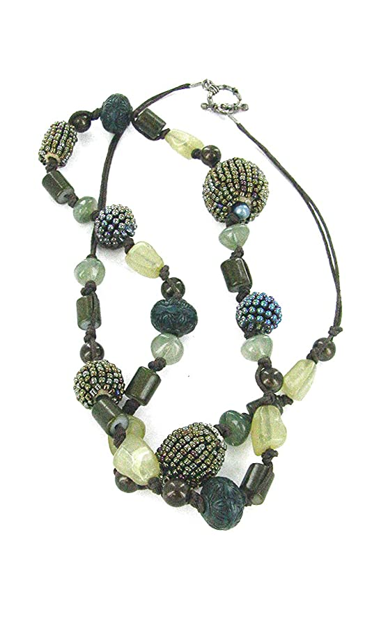 Linpeng Seed Ball, Green & Brown Mixed Beads Long Necklace