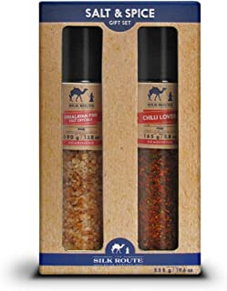 Silk Route Spice Company Giant Grinder Gift Set Himalayan Giant Grinder 13.8oz and Chili Lover Giant Grinder 5.82oz