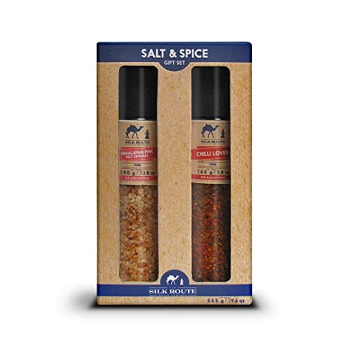 Silk Route Spice Company Giant Grinder Gift Set Himalayan Giant Grinder 13.8oz and Chili Lover
