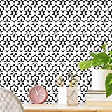 "17.7""X118"" Black Contact Paper Geometry Pattern Wallpaper White and Black Trellis Peel and Stick Wallpaper Self-Adhesive Removable Wallpaper White Modern for Cabinet Drawer Lining Furniture Wall Decor"