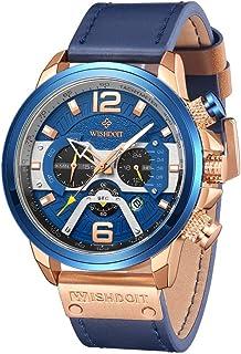 WISHDOIT Men's Watches Sports Outdoor Waterproof Military Wrist Watch Luxury Casual Quartz Watch Chronograph Colored Hands