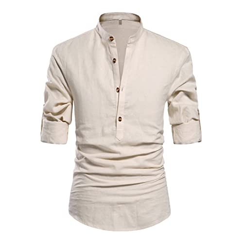 ce1dcb6c557835 ZYFMAILY Men's Band Collar Long Sleeve Solid Linen Shirt Casual Beach Shirt