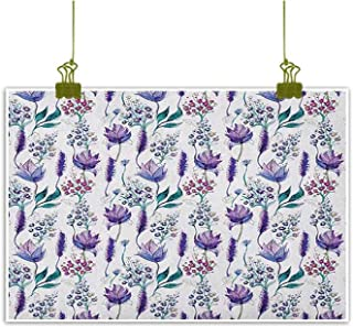 QIAOQIAOLO Modern Oil Painting Floral Hanging in The Living Room Botanical Plants Beauty Exotic Flowers Violets Bluebells Watercolor W35 x L24 Lavender Plum Jade Green