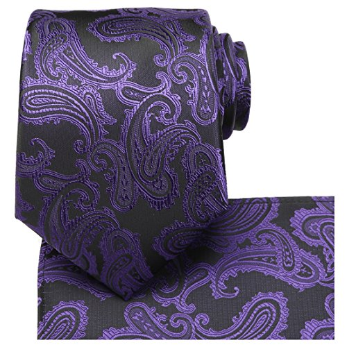 KissTies Royal Purple Extra Long Tie 63'' XL Paisley Necktie and Pocket Square