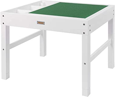 GOLOHO Large 2 in 1 Kids Activity Table with Storage for Older Kids Compatible with Lego, Building Block Wooden Activity Play
