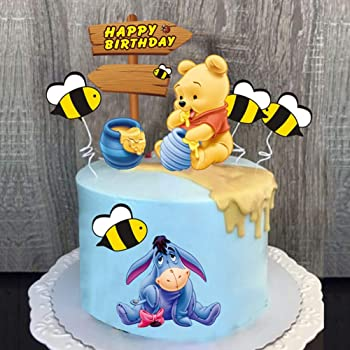 SHAMI Happy birthday Day The Pooh Bear Cake Topper Cupcake Toppers for Winnie Themed Happy Birthday Party Baby Gender Reveal Party Baby Shower First Decoration