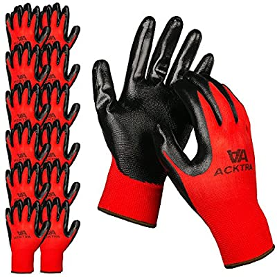 ACKTRA Nitrile Coated Nylon Safety WORK GLOVES 12 Pairs, Knit Wrist Cuff, Multipurpose, for Men & Women, WG003 Red Polyester, Black Nitrile, Large