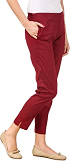 SriSaras Women's Regular Fit Formal Trousers (SriSaras-PANT_35_Maroon_XX-Large )