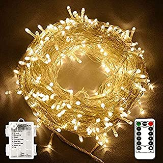 ORiTi 100 LEDs Outdoor LED Fairy String Lights Battery Operated with Remote (Dimmable, Timer, 8 Modes) - Warm White