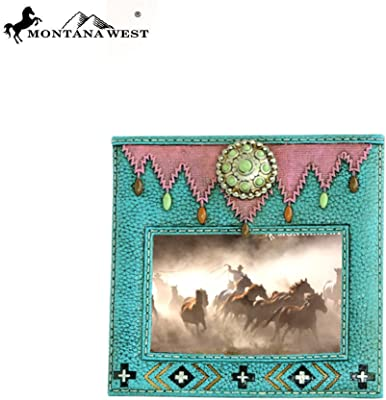 Montana West RSP-1631 Turquoise Stones Concho Turquoise Color Resin Texture Photo Frame