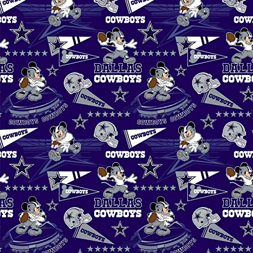 """NFL Mickey Disney Mash Up Fabric Dallas Cowboys Fabric NFL Football in Navy Blue 44"""" Wide 100% Cotton Fabric by The Yard"""