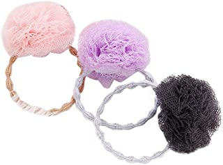 Beaupretty 3本弾性ネクタイストレッチポニーテールホルダー糸ボールヘアリングロープ用女の子ヘアアクセサリー(ピンク+ブラック+パープル)