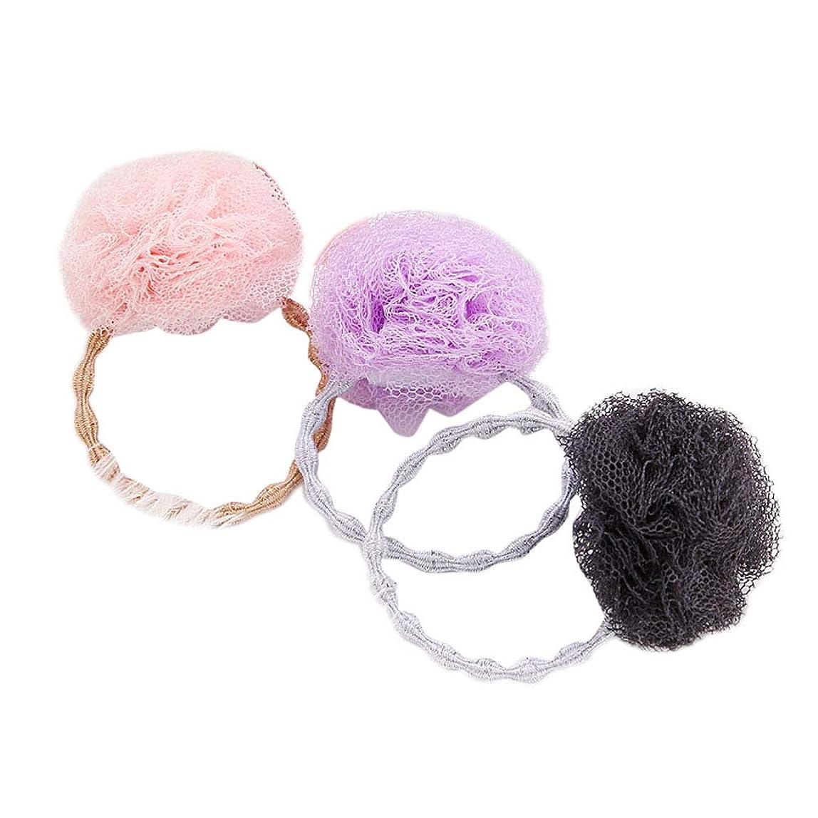 明るい見通しを必要としていますBeaupretty 3本弾性ネクタイストレッチポニーテールホルダー糸ボールヘアリングロープ用女の子ヘアアクセサリー(ピンク+ブラック+パープル)