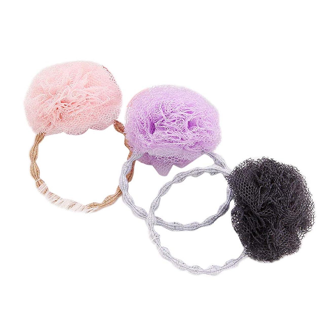 凍る縞模様の包括的Beaupretty 3本弾性ネクタイストレッチポニーテールホルダー糸ボールヘアリングロープ用女の子ヘアアクセサリー(ピンク+ブラック+パープル)