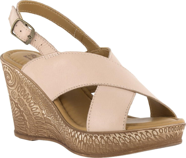 Bella Vita LEA- Women W Open Toe Leather Nude Wedge Sandal