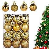 WELLXUNK® Bolas de Navidad, 24 Bolas de Decoración Navideña, Bolas de Adornos Navideños BrillantesNavideño para Colgar en la Pared Adornos (Dorado)