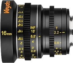 Veydra V1-16T22M43I Mini Prime 16mm T2.2 Imperial Cinema Lens with Manual Focus, Black