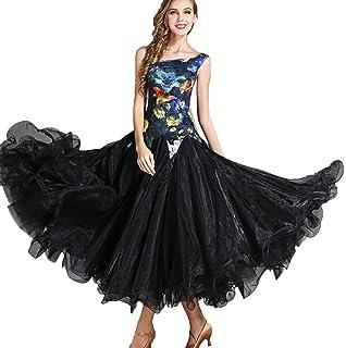 76bdeccb418 Vestidos de Baile de Salón para Mujeres Liso Vals Tango Gran Swing  Impresión de Moda Traje