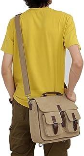 Men's Accessories Men's Canvas Vintage Style Briefcase Shoulder Messenger Crossbody for Business,Brown/Green/Khaki Outdoor Recreation (Color : Khaki)