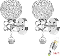 2 Pack Modern Style Decorative Crystal Wall Lights,ONEVER Bedside Wall Lamp Sconce for..