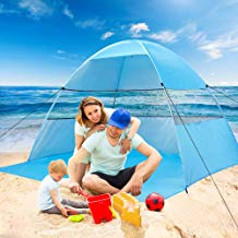 Beach Tent Sun Shelter Pop Up Tents for Family Plus Canopy Automatic UV Protection Cabana Portable and Lightweight Shade Easy Setup and Down with Carry Bag for Outdoor Suit for 3 or 4 Person