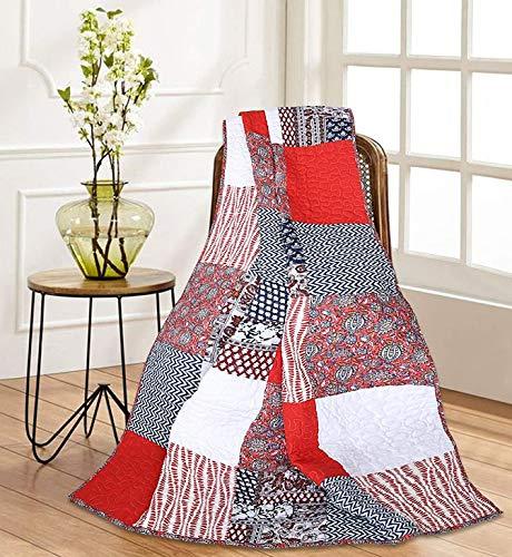 RAJRANG BRINGING RAJASTHAN TO YOU Patchwork Quilts - Bed gooit Vintage Stijl Bedsprei Lichtgewicht Katoen Sofa Gooi Stoelen Deken 152x127 cm