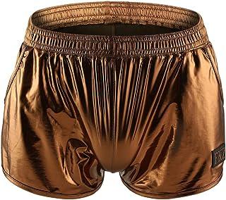 Junhouse Mens Shiny Metallic Lounge Boxers Shorts Pants PVC Leather Low Rise Trunks Underwear Sport Running Swim Shorts Tr...