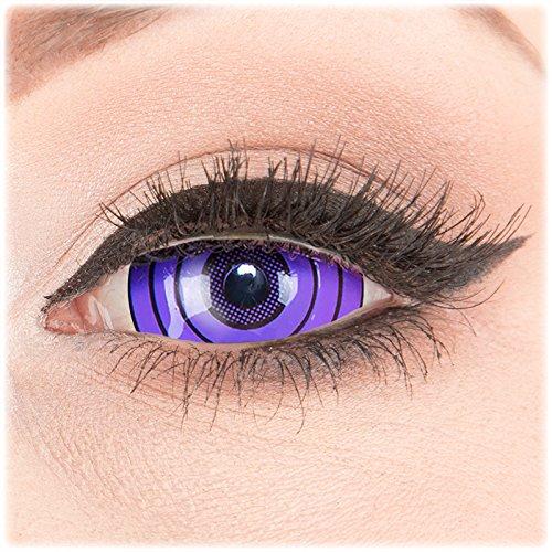 Farbige violette Crazy Fun Sclera 22 mm Kontaktlinsen 1 Paar 'Violet Rinnegan' mit Behälter - Topqualität von 'Evil Lens' zu Fasching Karneval Halloween ohne Stärke