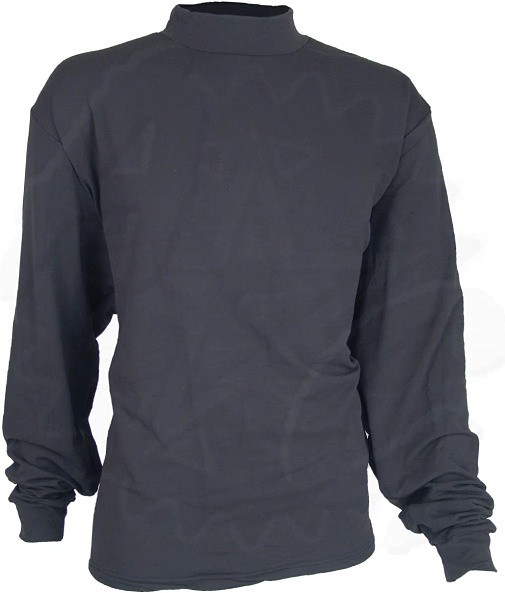 DSCP US Military Thermal Mock Turtleneck Long Sleeve Jersey Shirt, Black
