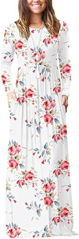 Vintage Print Dress for Women Crewneck Long Sleeve Dress Loose Fit Maxi Dress Boho Dress with Pockets