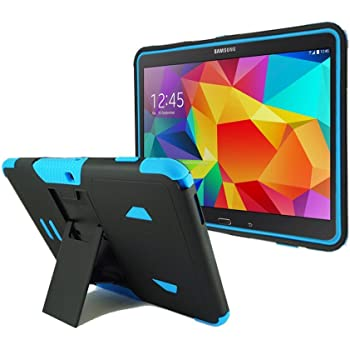 "BNY-WIRELESS? Samsung Galaxy Tab 4 10.1"" SM-T530 Heavy Duty Rugged Impact Dual Layer Hybrid Case Cove with Kickstand-Black-Blue"