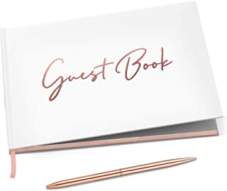 """Merry Expressions Wedding Guest Book & Rose Gold Pen – 9""""x7"""" Hardcover White Polaroid Book 100 Page/50 Sheets – Foil Gilde..."""