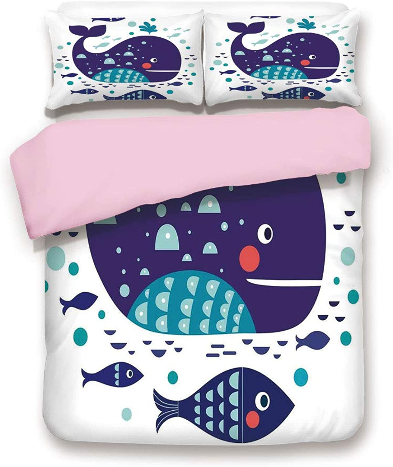 Pink Duvet Cover Set,King Size,Navy Sea Theme Cartoon Big Fish with Others in Ocean Swimming Image,Decorative 3 Piece Bedding Set with 2 Pillow Sham,Best Gift for Girls Women,Sky bluee and Navy bluee