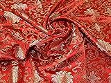 Minerva Crafts Chinesischer Satin-Brokat, Rot & Antikgold,