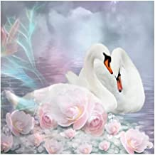 5D Diamond Painting Swanby Number Kits, DIY Full Round Drill Crystal Rhinestone Embroidery Pictures Painting Cross Stitch ...