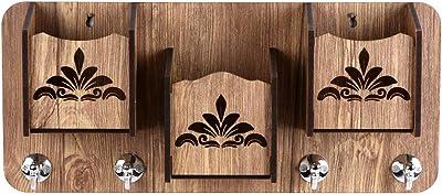 Sehaz Artworks Decorative Wall Shelves for Keys 3-Pocket-Flora Big Key Holder | Hooks Rack/Holder for Kitchen Utensil | Wall Mounted Key Holder Key Rack Key Hanger | Wall Mount Stylish Wooden Shelves