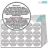 60 adesivi con indicazione di sicurezza per candele PLASTICA BIANCA LUCIDA. 100% resistenti all'acqua. Etichette con indicazioni di sicurezza candele.