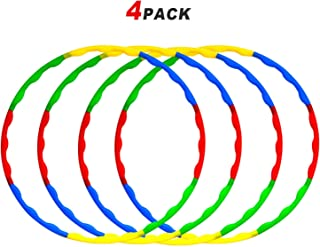 4 Pack Kids Weighted & Exercise Hoola Hoops -Hula Rings -Snap Together Detachable Adjustable Weight Size Plastic Hoops -Toy Hoop Set Bulk for Sports Playing & Games Outdoor Indoor