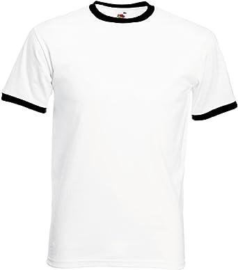 Fruit of the Loom - Camiseta para hombre con cuello y tira en mangas de otro color