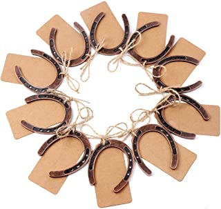 Best OurWarm 10pcs Good Lucky Horseshoe Wedding Favors with Kraft Tags Rustic Horseshoe Gifts for Vintage Wedding Party Decorations Review