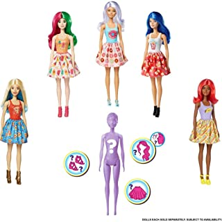 Barbie GTP41 - Color Reveal Puppen Thema Snacks und Süßes,