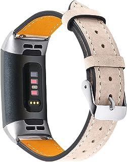 Jennyfly Bracelet de rechange pour montre Fitbit Charge 3/Charge 4, bracelet de montre de sport fin en cuir véritable avec...