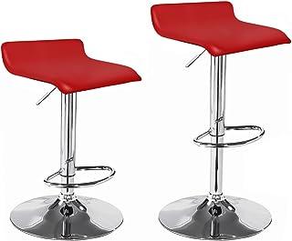 La Silla Española - Pack de dos taburetes con asiento cuadrado en color rojo, en simil piel, regulable en altura 38x30x86 cm