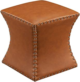 Kings Brand Furniture Nailhead Trim Upholstered Stool Ottoman (Brown)