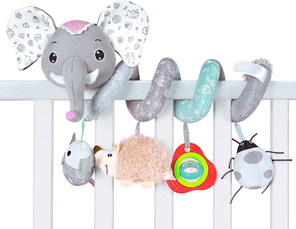 Zocita Infant Baby Music Spiral Plush Toy Elephant Hedgehog Ladybird Rattle Hanging Toy for Car Seat Crib Pram Bed Stroller (Gray)