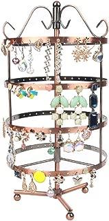 Bocar Metal Detachable Rotating Earrings Jewelry Rack Organizer Display Holder Tower (TY-4C-copper)