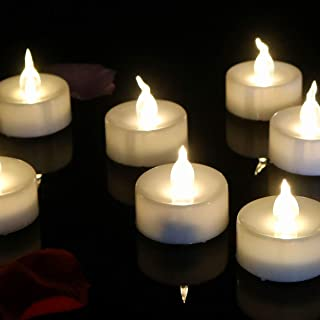 12pcs Tea Light Electronic Battery Candles Flameless Warm White Round Fake Led Flickering Candle for HalloweenCraft Project Luminary Bag for Diwalli