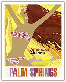 Pacifica Island Art Palm Springs - California Girl - American Airlines - Vintage Airline Travel Poster c.1960s - Fine Art Print - 11in x 14in
