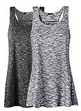 Lantch Damen Tank Top Sommer Sports Shirts Oberteile Frauen Baumwolle Lose for Yoga Jogging Laufen Workout, L, Schwarz/Grau
