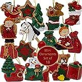 BANBERRY DESIGNS - Juego de 18 mini adornos para árboles pequeños o Navidad cuenta regresiva – varios diseños, trineo, estrellas y osos de peluche – aprox. 1 pulgada